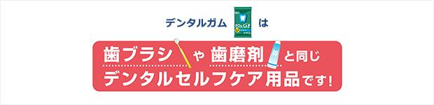 デンタルガムは歯ブラシと歯磨剤と同じデンタルセルフケア用品です